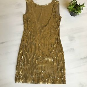 Michael Kors gold sequin low back dress